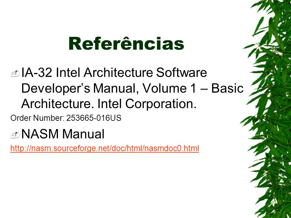 Referências  IA-32 Intel Architecture Software Developer's Manual, Volume 1 – Basic Architecture. Intel Corporation. Order Number: 253665-016US  NAS