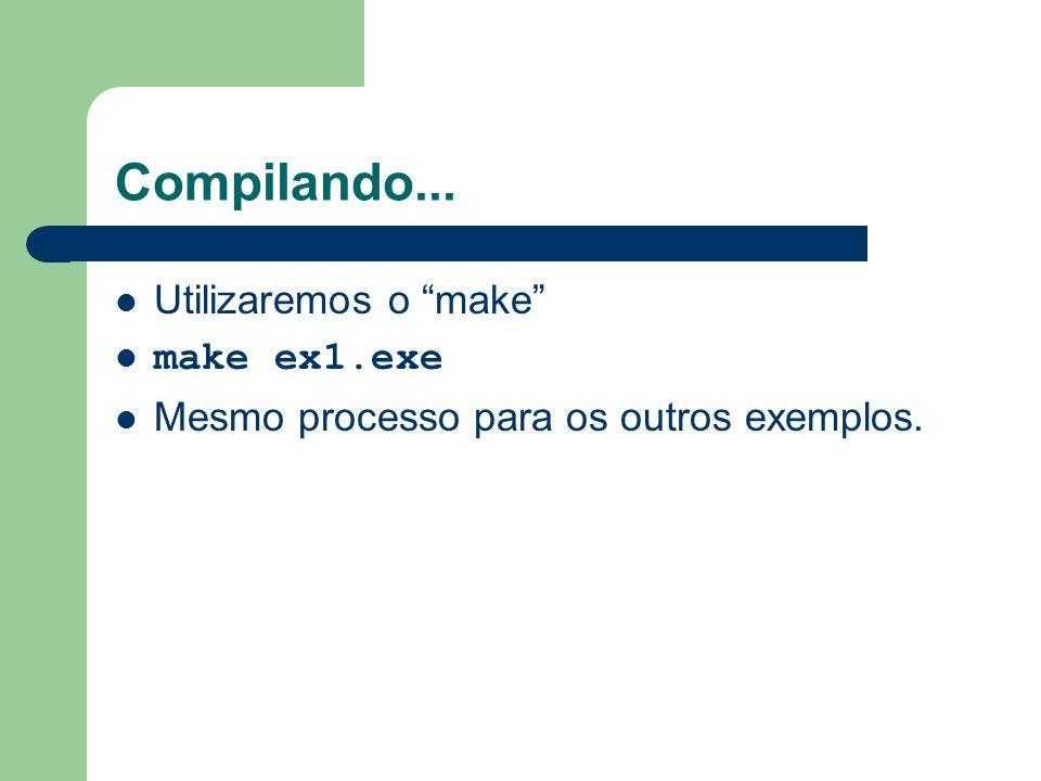 """Compilando... Utilizaremos o """"make"""" make ex1.exe Mesmo processo para os outros exemplos."""