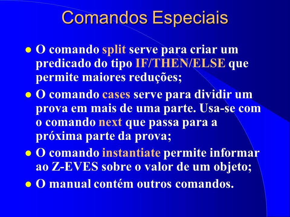 Criação de Teoremas l A introdução de teoremas é importante: –Os teoremas do Z-EVES são insuficientes; –Reduzir o número de passos de uma prova. l Int