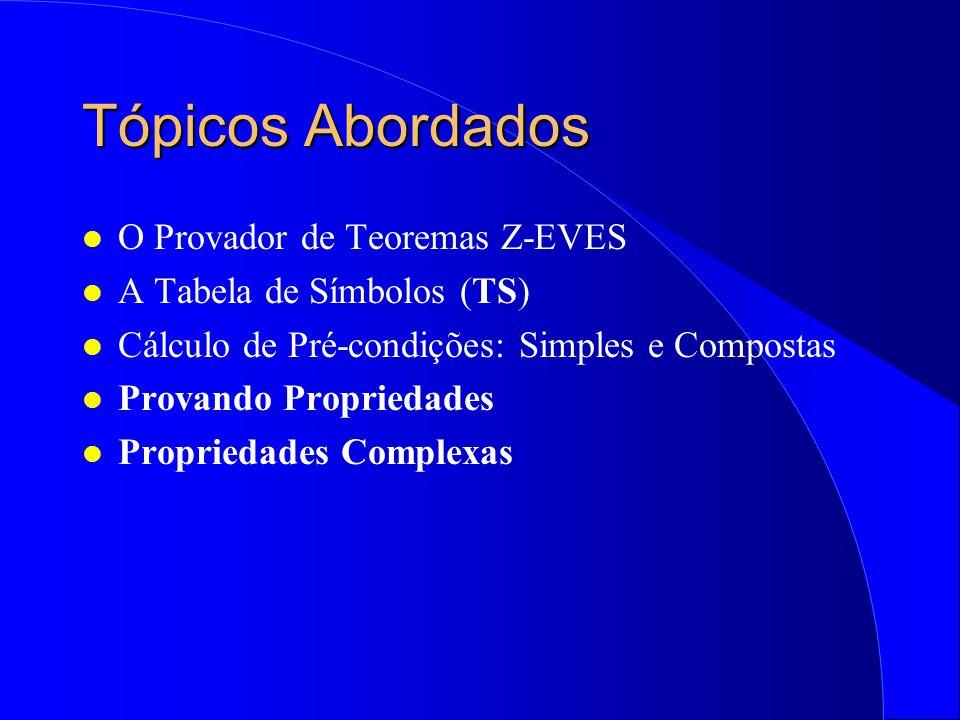 Curso Prático de Métodos Formais Calculando Pré-Condições e Provando Propriedades de Especificações em Z (Alexandre Mota e Augusto Sampaio)