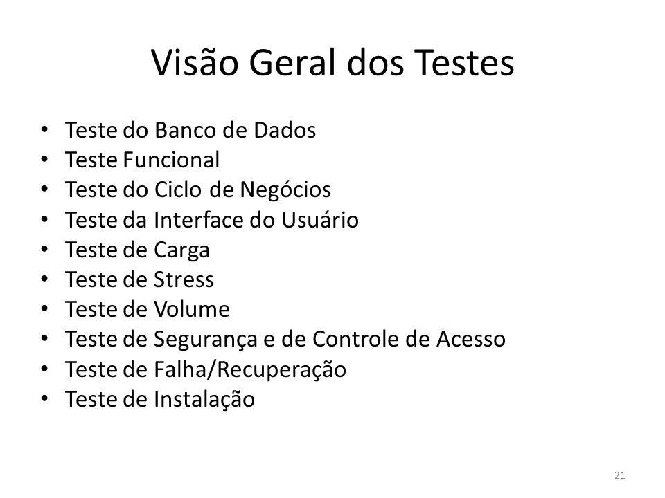 Visão Geral dos Testes Teste do Banco de Dados Teste Funcional Teste do Ciclo de Negócios Teste da Interface do Usuário Teste de Carga Teste de Stress Teste de Volume Teste de Segurança e de Controle de Acesso Teste de Falha/Recuperação Teste de Instalação 21