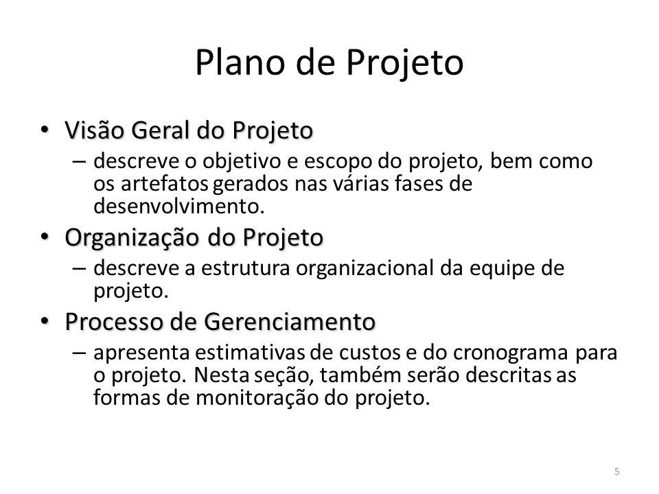 Plano de Projeto Visão Geral do Projeto Visão Geral do Projeto – descreve o objetivo e escopo do projeto, bem como os artefatos gerados nas várias fases de desenvolvimento.