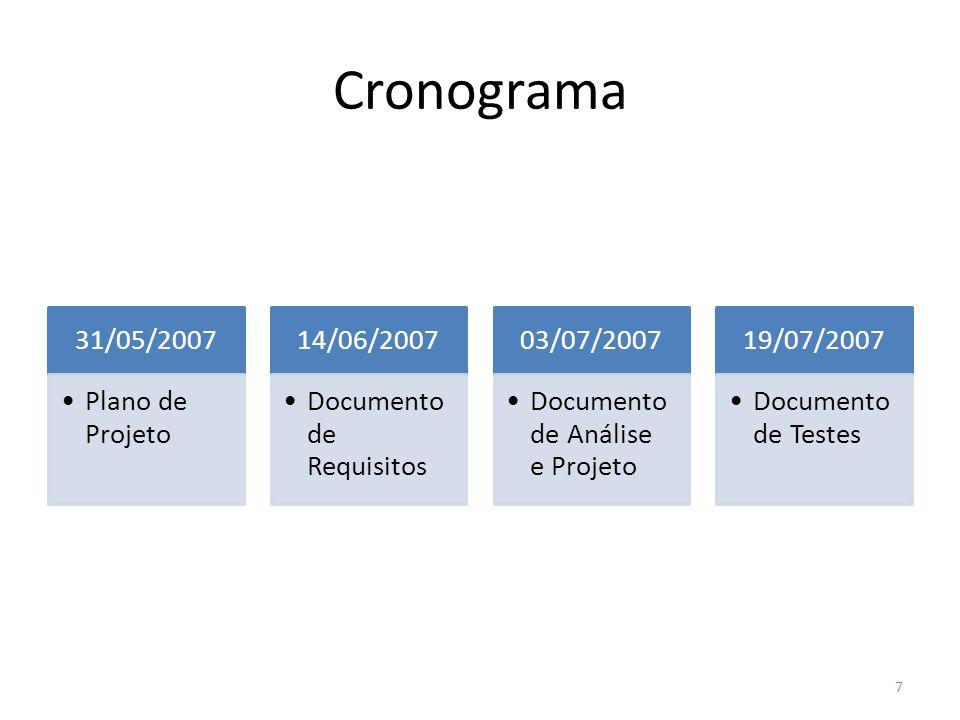 Cronograma 31/05/2007 Plano de Projeto 14/06/2007 Documento de Requisitos 03/07/2007 Documento de Análise e Projeto 19/07/2007 Documento de Testes 7