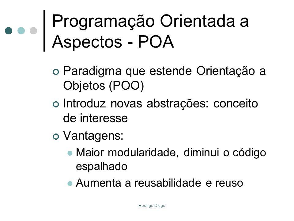 Rodrigo Diego Programação Orientada a Aspectos - POA Paradigma que estende Orientação a Objetos (POO) Introduz novas abstrações: conceito de interesse