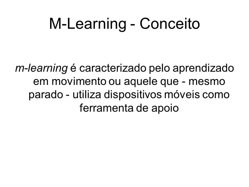 M-Learning - Conceito m-learning é caracterizado pelo aprendizado em movimento ou aquele que - mesmo parado - utiliza dispositivos móveis como ferrame