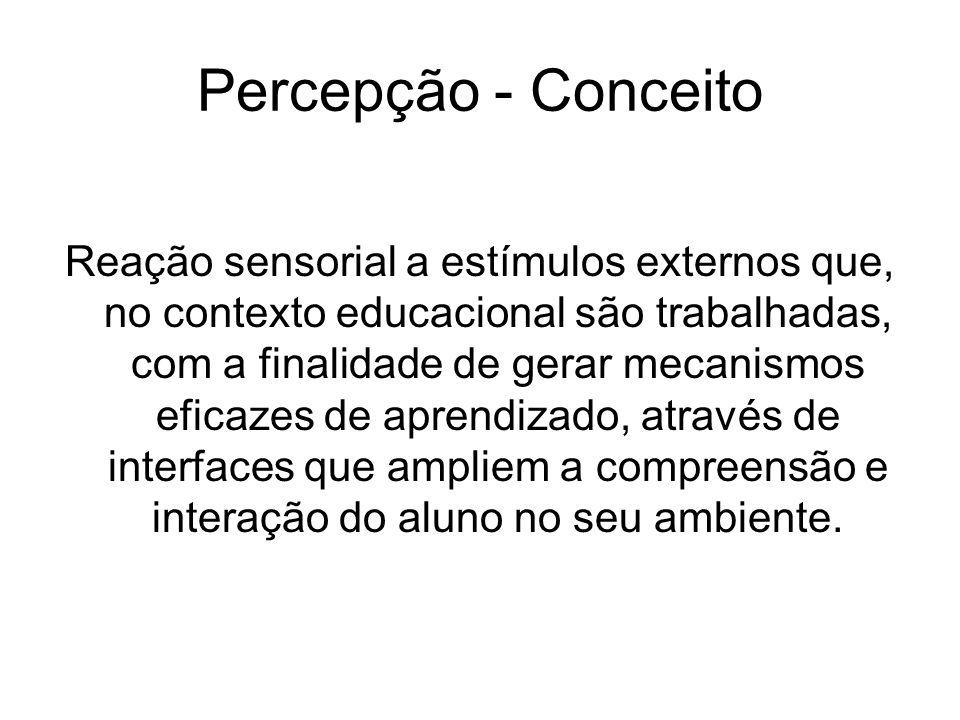 Percepção - Conceito Reação sensorial a estímulos externos que, no contexto educacional são trabalhadas, com a finalidade de gerar mecanismos eficazes