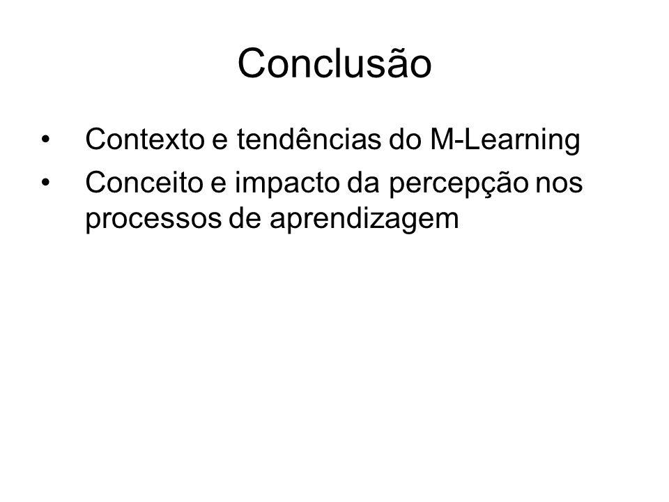 Conclusão Contexto e tendências do M-Learning Conceito e impacto da percepção nos processos de aprendizagem