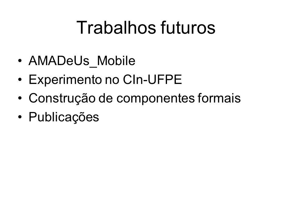 Trabalhos futuros AMADeUs_Mobile Experimento no CIn-UFPE Construção de componentes formais Publicações