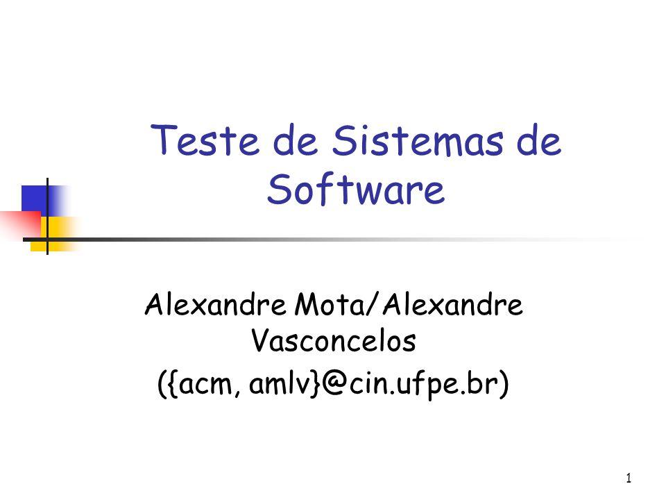 1 Teste de Sistemas de Software Alexandre Mota/Alexandre Vasconcelos ({acm, amlv}@cin.ufpe.br)