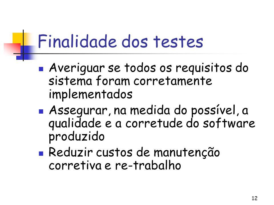 12 Finalidade dos testes Averiguar se todos os requisitos do sistema foram corretamente implementados Assegurar, na medida do possível, a qualidade e