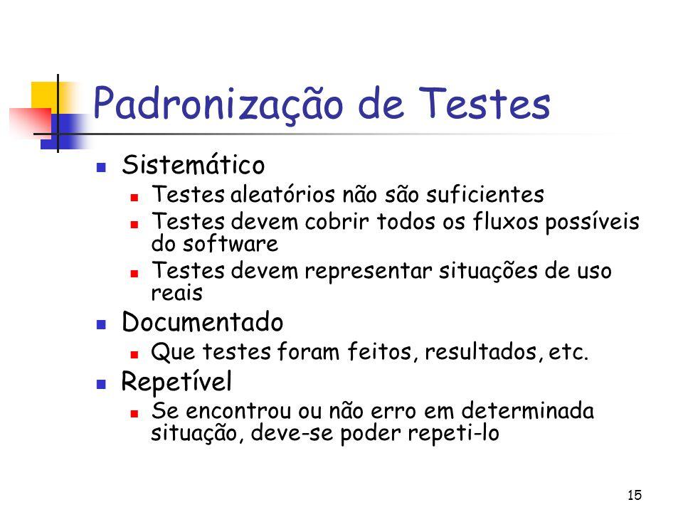 15 Padronização de Testes Sistemático Testes aleatórios não são suficientes Testes devem cobrir todos os fluxos possíveis do software Testes devem rep