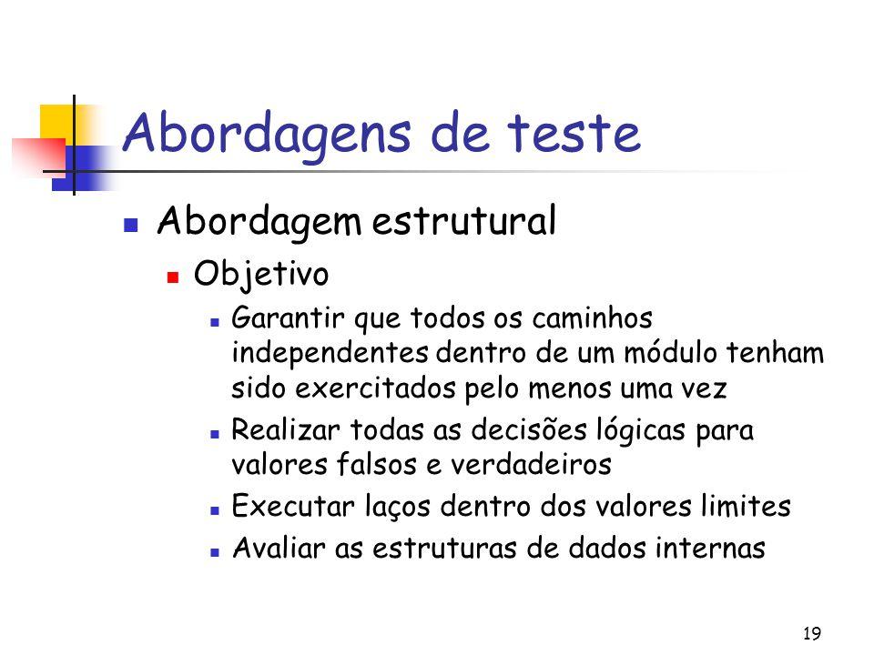 19 Abordagens de teste Abordagem estrutural Objetivo Garantir que todos os caminhos independentes dentro de um módulo tenham sido exercitados pelo men