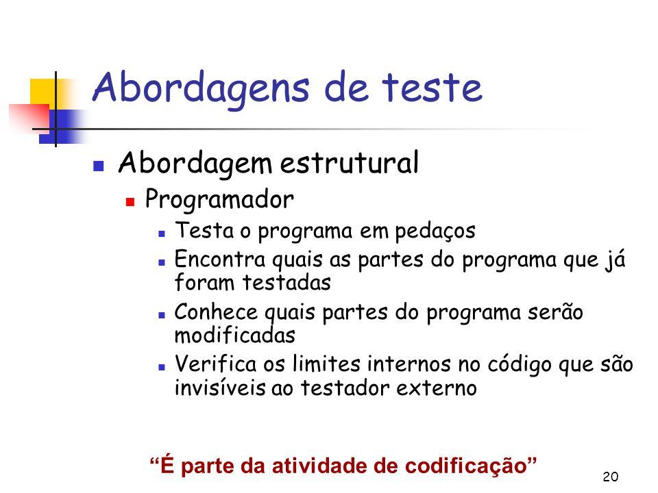 20 Abordagens de teste Abordagem estrutural Programador Testa o programa em pedaços Encontra quais as partes do programa que já foram testadas Conhece