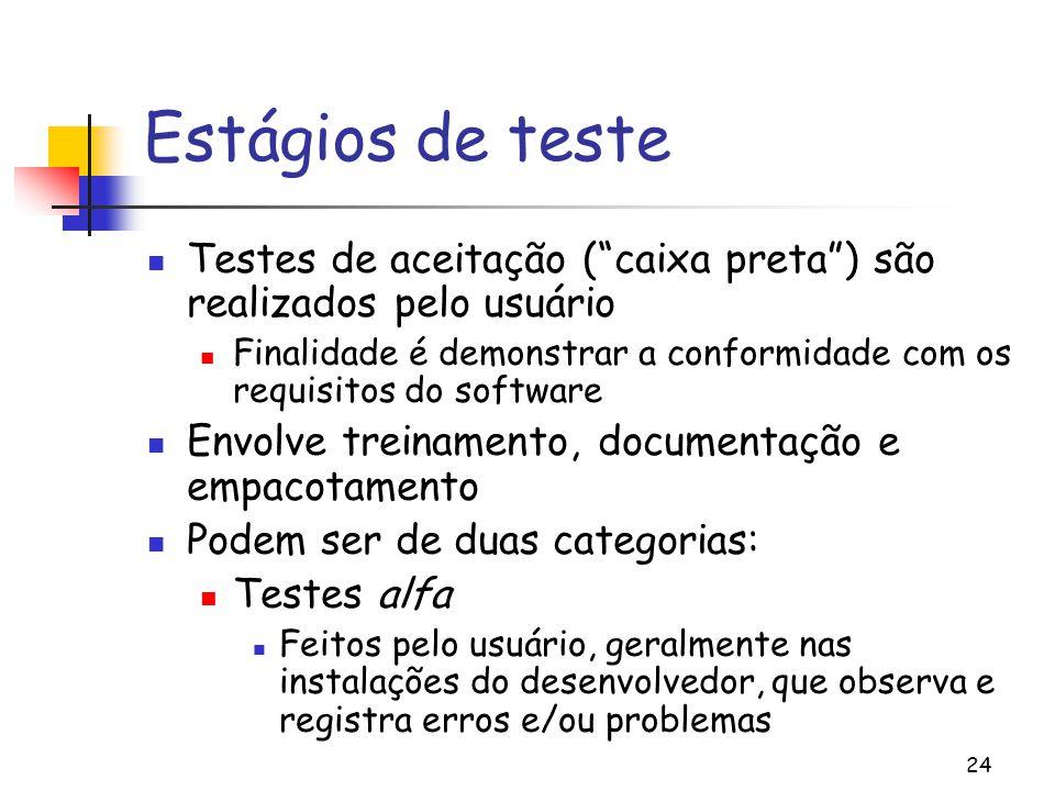 """24 Estágios de teste Testes de aceitação (""""caixa preta"""") são realizados pelo usuário Finalidade é demonstrar a conformidade com os requisitos do softw"""