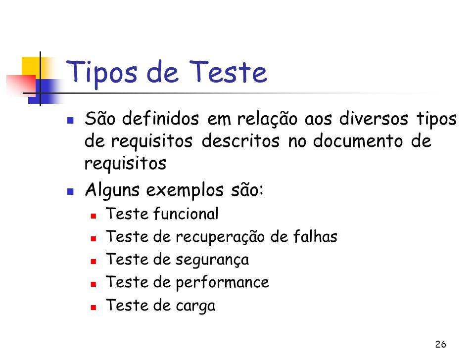 26 Tipos de Teste São definidos em relação aos diversos tipos de requisitos descritos no documento de requisitos Alguns exemplos são: Teste funcional