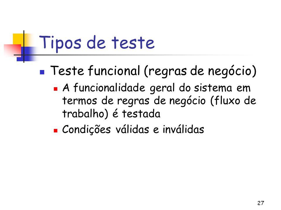 27 Tipos de teste Teste funcional (regras de negócio) A funcionalidade geral do sistema em termos de regras de negócio (fluxo de trabalho) é testada C