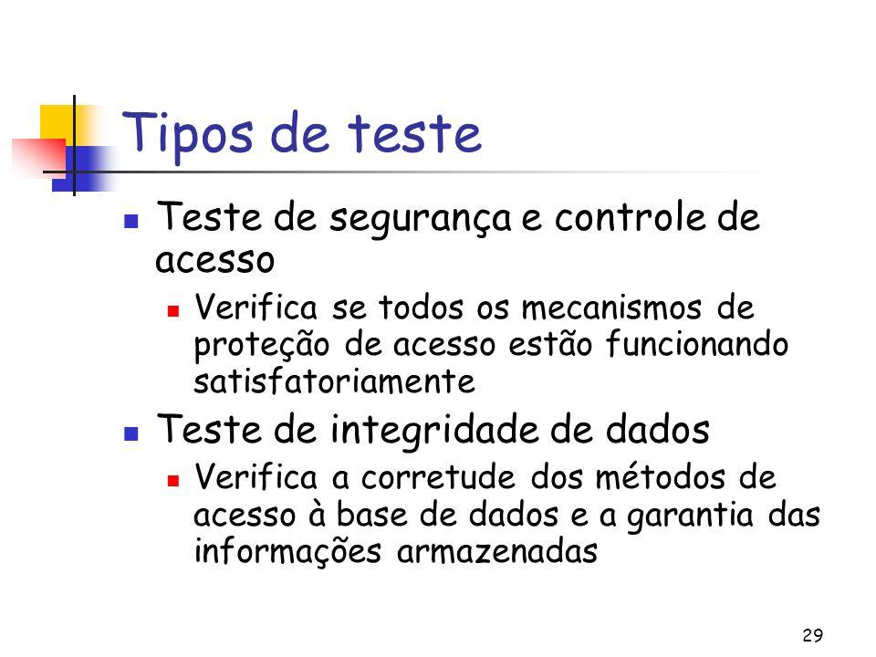 29 Tipos de teste Teste de segurança e controle de acesso Verifica se todos os mecanismos de proteção de acesso estão funcionando satisfatoriamente Te