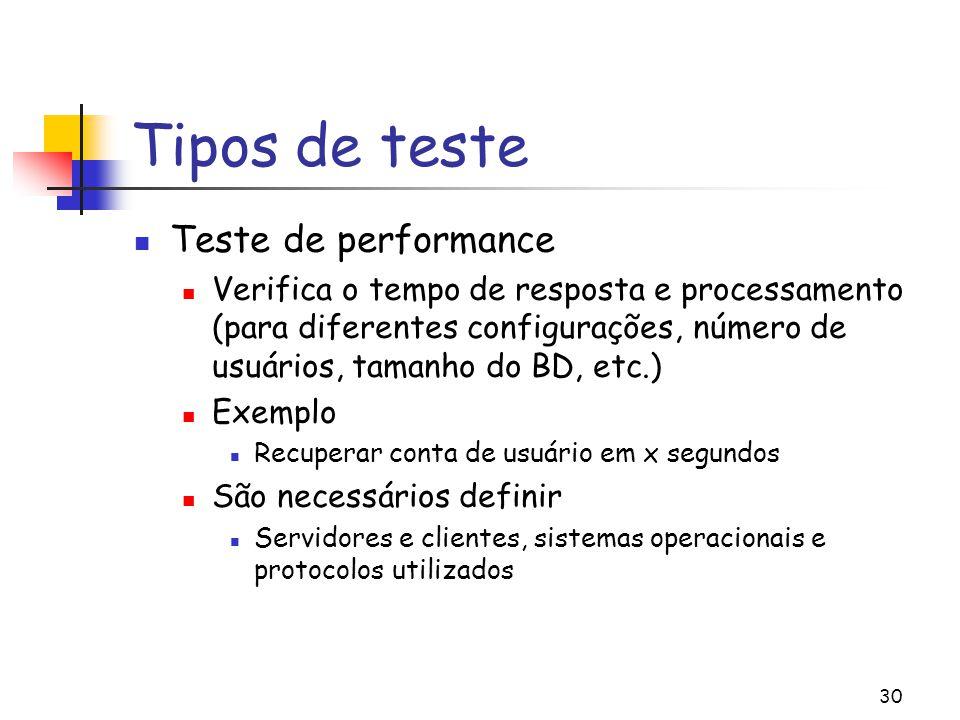 30 Tipos de teste Teste de performance Verifica o tempo de resposta e processamento (para diferentes configurações, número de usuários, tamanho do BD,