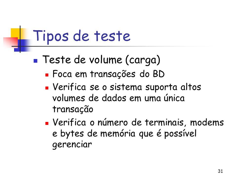 31 Tipos de teste Teste de volume (carga) Foca em transações do BD Verifica se o sistema suporta altos volumes de dados em uma única transação Verific