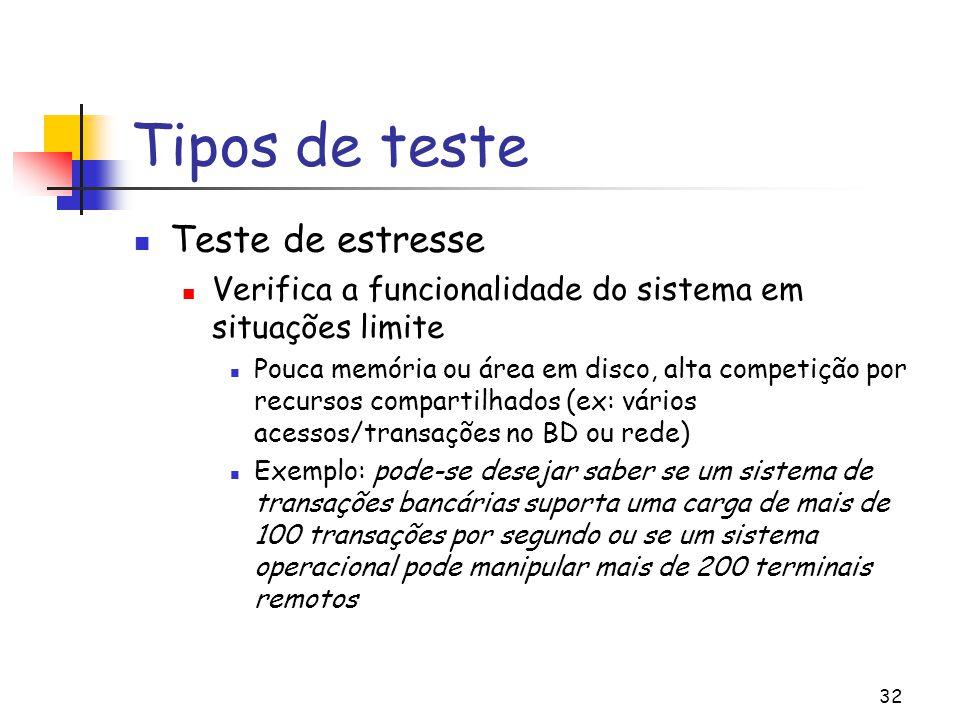 32 Tipos de teste Teste de estresse Verifica a funcionalidade do sistema em situações limite Pouca memória ou área em disco, alta competição por recur