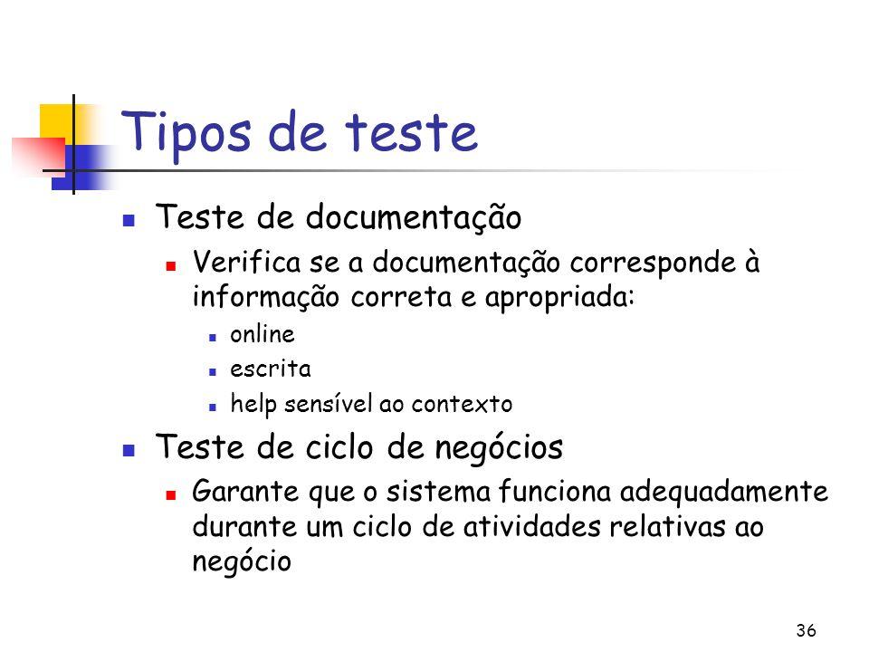 36 Tipos de teste Teste de documentação Verifica se a documentação corresponde à informação correta e apropriada: online escrita help sensível ao cont