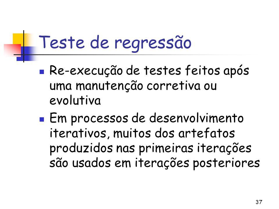 37 Teste de regressão Re-execução de testes feitos após uma manutenção corretiva ou evolutiva Em processos de desenvolvimento iterativos, muitos dos a