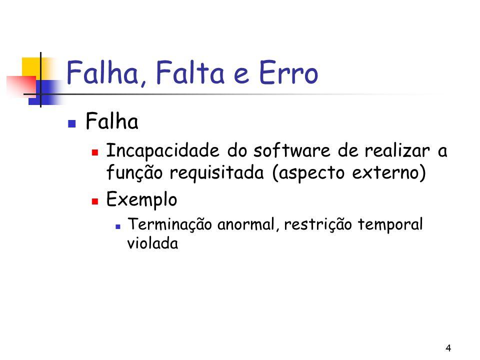 4 Falha, Falta e Erro Falha Incapacidade do software de realizar a função requisitada (aspecto externo) Exemplo Terminação anormal, restrição temporal