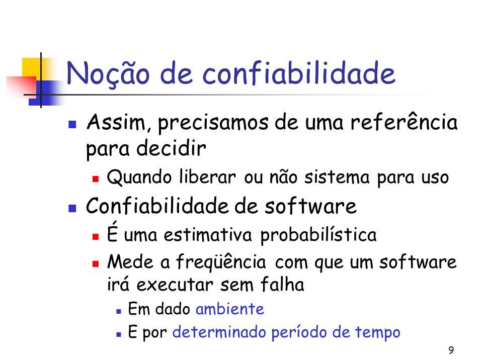 9 Noção de confiabilidade Assim, precisamos de uma referência para decidir Quando liberar ou não sistema para uso Confiabilidade de software É uma est