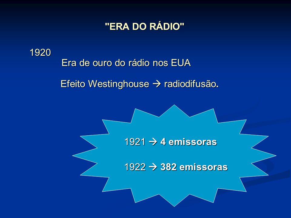 ERA DO RÁDIO Era de ouro do rádio nos EUA Efeito Westinghouse  radiodifusão.