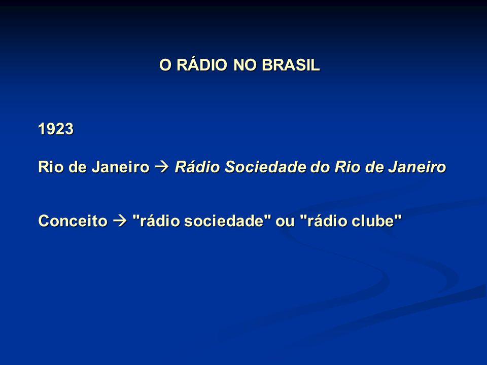 O RÁDIO NO BRASIL Rio de Janeiro  Rádio Sociedade do Rio de Janeiro 1923 Conceito  rádio sociedade ou rádio clube