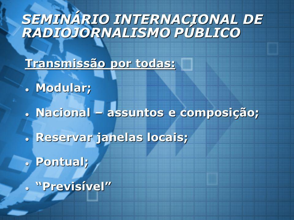 SEMINÁRIO INTERNACIONAL DE RADIOJORNALISMO PÚBLICO Transmissão por todas: Modular; Modular; Nacional – assuntos e composição; Nacional – assuntos e co