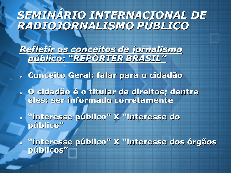 """SEMINÁRIO INTERNACIONAL DE RADIOJORNALISMO PÚBLICO Refletir os conceitos de jornalismo público: """"REPÓRTER BRASIL"""" Conceito Geral: falar para o cidadão"""