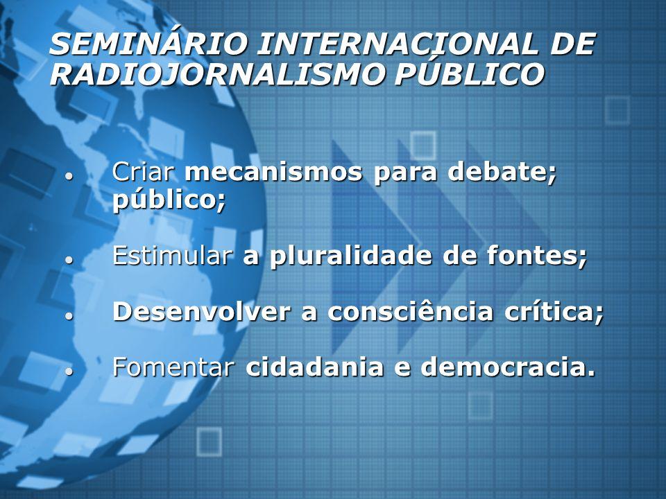 SEMINÁRIO INTERNACIONAL DE RADIOJORNALISMO PÚBLICO Criar mecanismos para debate; público; Criar mecanismos para debate; público; Estimular a pluralidade de fontes; Estimular a pluralidade de fontes; Desenvolver a consciência crítica; Desenvolver a consciência crítica; Fomentar cidadania e democracia.