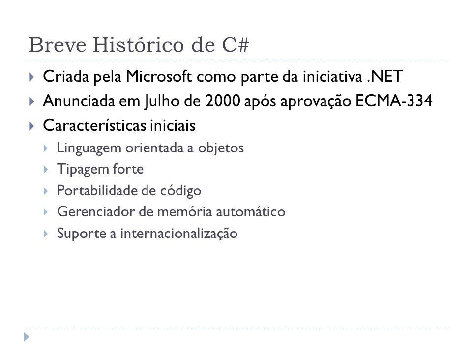 Breve Histórico de C#  Criada pela Microsoft como parte da iniciativa.NET  Anunciada em Julho de 2000 após aprovação ECMA-334  Características inic