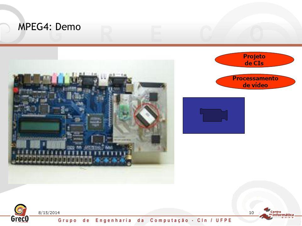 10 MPEG4: Demo Projeto de CIs Processamento de vídeo