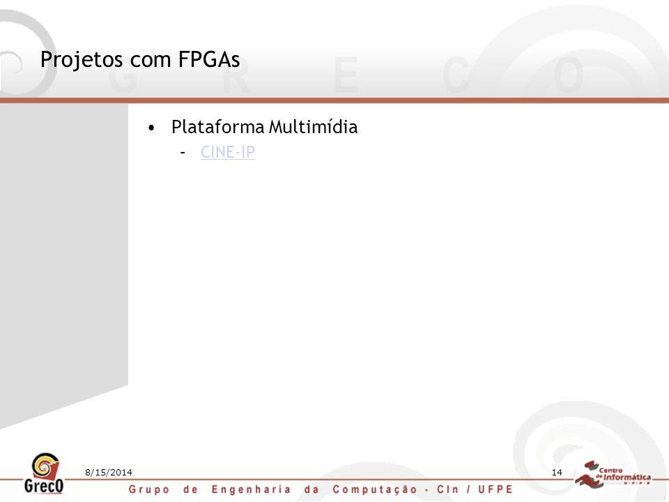 8/15/201414 Projetos com FPGAs Plataforma Multimídia –CINE-IPCINE-IP