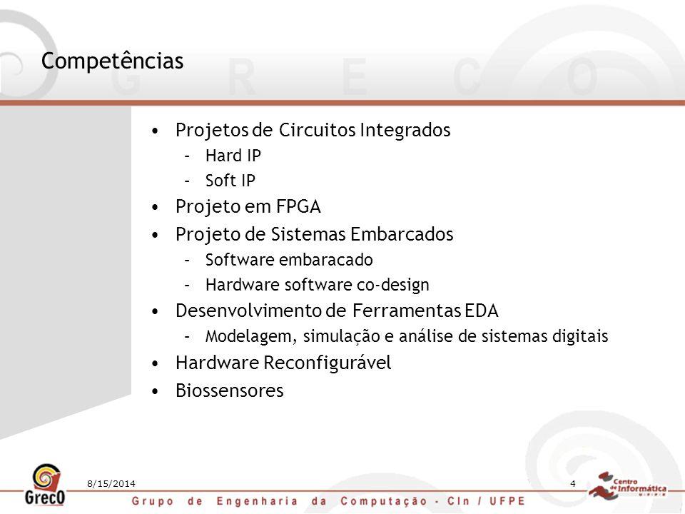 8/15/20144 Competências Projetos de Circuitos Integrados –Hard IP –Soft IP Projeto em FPGA Projeto de Sistemas Embarcados –Software embaracado –Hardwa
