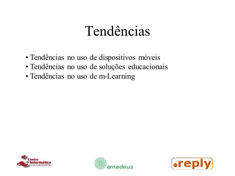 Tendências no uso de dispositivos móveis Tendências no uso de soluções educacionais Tendências no uso de m-Learning