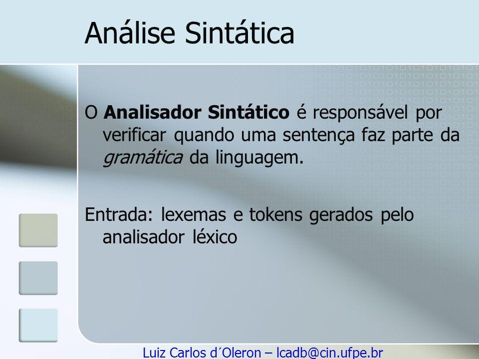 Luiz Carlos d´Oleron – lcadb@cin.ufpe.br Análise Sintática O Analisador Sintático é responsável por verificar quando uma sentença faz parte da gramáti