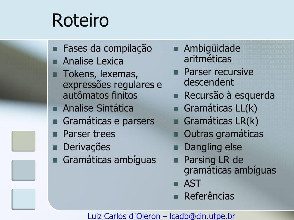 Luiz Carlos d´Oleron – lcadb@cin.ufpe.br Exemplo S → S ; S S → id := E S → print (L) E → id E → num E → E + E E → (S, E) L → E L → L, E Terminais: id print, + ; := ( ) Não terminas: S E L Símbolo inicial: S → é utilizado na notação de produções A cadeia seguinte pertence à gramática.