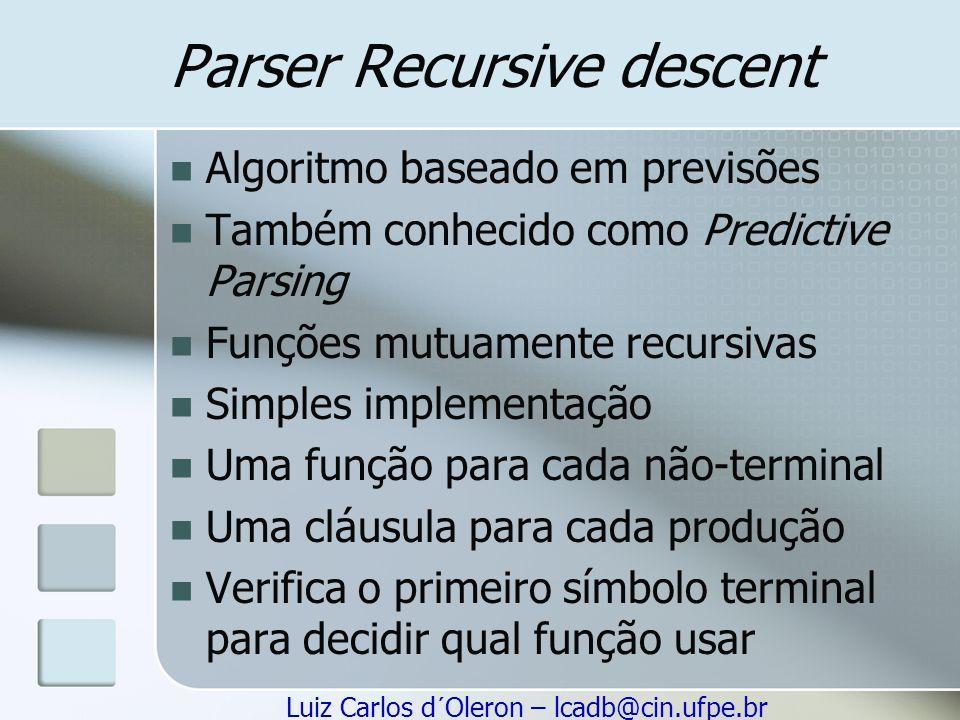 Luiz Carlos d´Oleron – lcadb@cin.ufpe.br Parser Recursive descent Algoritmo baseado em previsões Também conhecido como Predictive Parsing Funções mutu