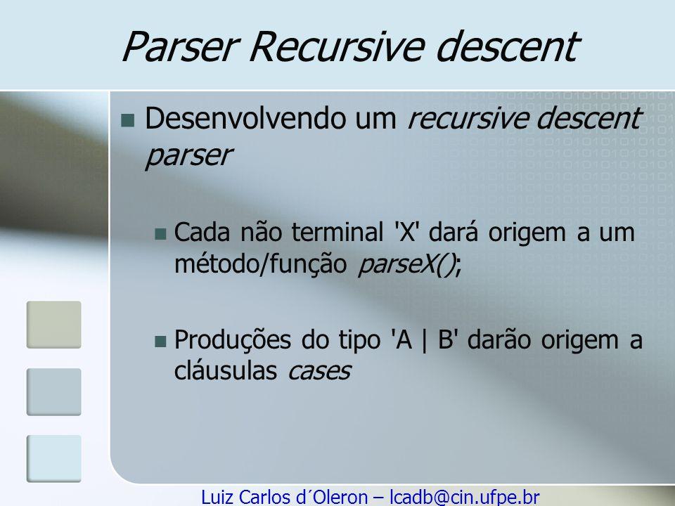 Luiz Carlos d´Oleron – lcadb@cin.ufpe.br Parser Recursive descent Desenvolvendo um recursive descent parser Cada não terminal 'X' dará origem a um mét