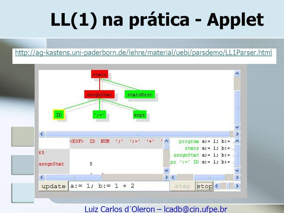 Luiz Carlos d´Oleron – lcadb@cin.ufpe.br LL(1) na prática - Applet http://ag-kastens.uni-paderborn.de/lehre/material/uebi/parsdemo/LL1Parser.html
