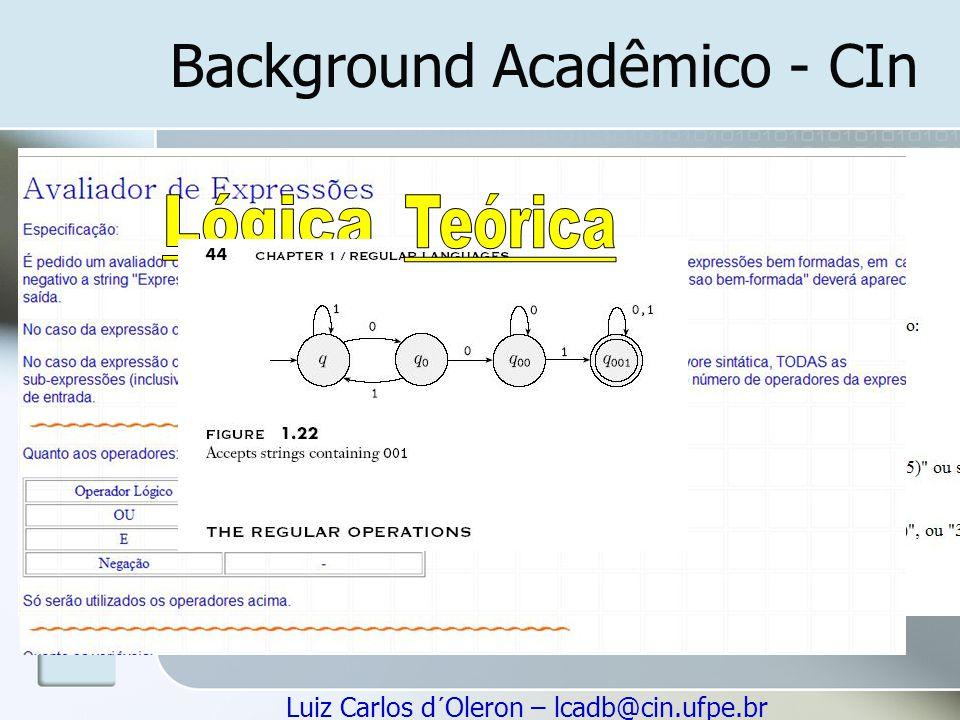 Luiz Carlos d´Oleron – lcadb@cin.ufpe.br Background Acadêmico - CIn