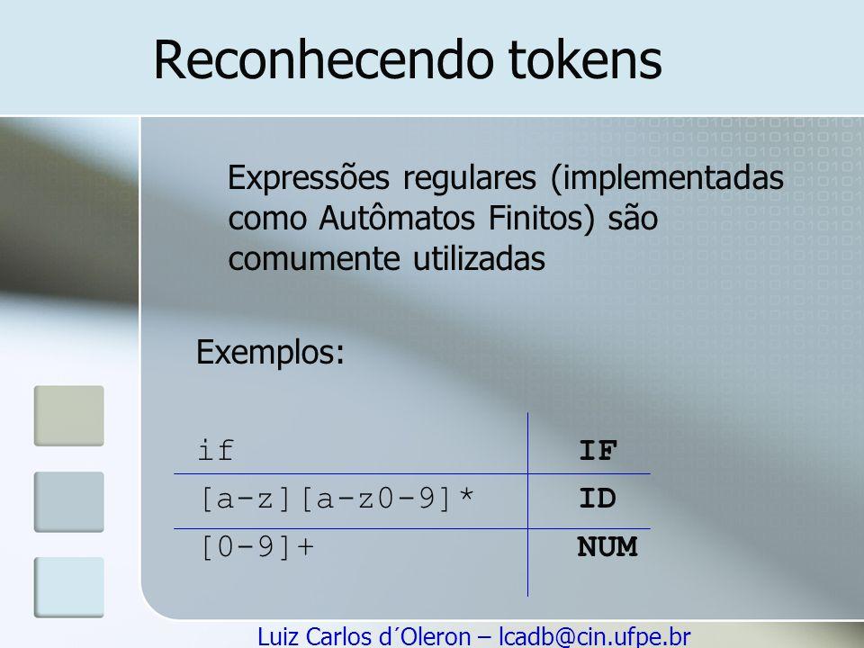 Luiz Carlos d´Oleron – lcadb@cin.ufpe.br Reconhecendo tokens Expressões regulares (implementadas como Autômatos Finitos) são comumente utilizadas Exem