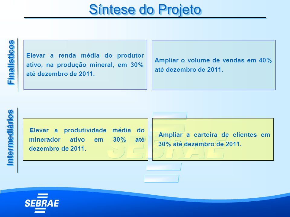 Síntese do Projeto FinalísticosFinalísticos IntermediáriosIntermediários Elevar a renda média do produtor ativo, na produção mineral, em 30% até dezem