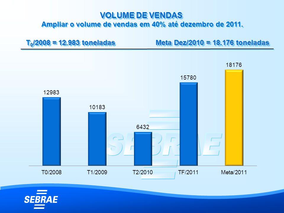 VOLUME DE VENDAS. VOLUME DE VENDAS Ampliar o volume de vendas em 40% até dezembro de 2011. T 0 /2008 = 12.983 toneladas Meta Dez/2010 = 18.176 tonelad