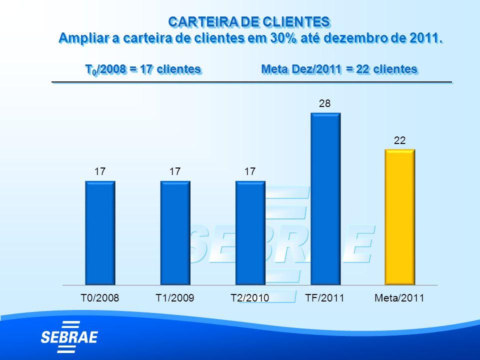 CARTEIRA DE CLIENTES CARTEIRA DE CLIENTES Ampliar a carteira de clientes em 30% até dezembro de 2011. T 0 /2008 = 17 clientes Meta Dez/2011 = 22 clien