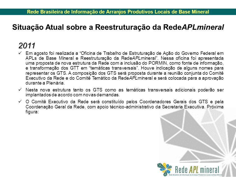 Rede Brasileira de Informação de Arranjos Produtivos Locais de Base Mineral Situação Atual sobre a Reestruturação da RedeAPLmineral 2011 Em agosto foi realizada a Oficina de Trabalho de Estruturação de Ação do Governo Federal em APLs de Base Mineral e Reestruturação da RedeAPLmineral .