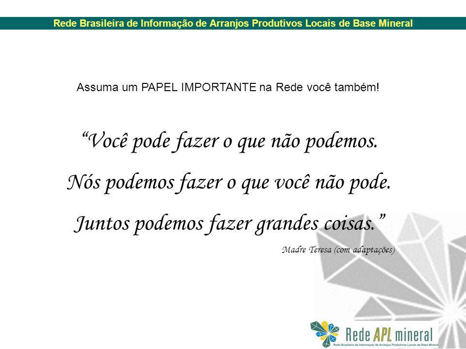 Rede Brasileira de Informação de Arranjos Produtivos Locais de Base Mineral Você pode fazer o que não podemos.